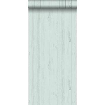 carta da parati tavole strette di legno di recupero retrò vintage verde menta pastello chiaro grigiastro da ESTA home