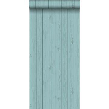 carta da parati tavole strette di legno di recupero retrò vintage verde mare turchese grigiastro da ESTA home