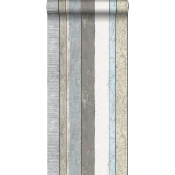 carta da parati tavole di legno grigio e blu chiaro da ESTA home