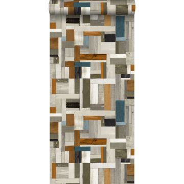 carta da parati legno di scarto grigio, marrone e blu grigiastro da ESTA home
