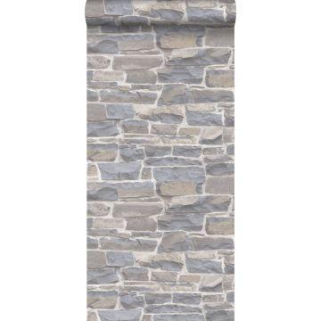 carta da parati muro di mattoni grigio chiaro e beige da ESTA home
