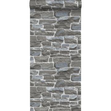 carta da parati muro di mattoni grigio scuro da ESTA home