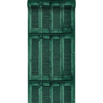carta da parati persiane francese retrò vintage in legno alterato verde smeraldo intenso da ESTA home