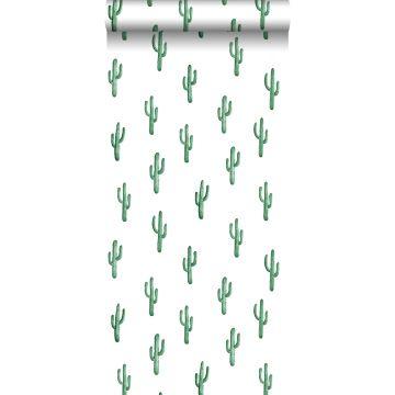 carta da parati piccolo cactus del deserto verde smeraldo intenso da ESTA home