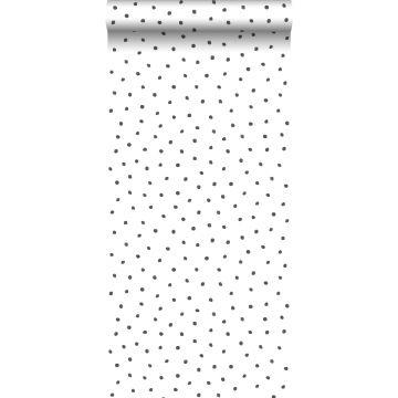 carta da parati fiocci di neve irregolari polka dots nero e bianco da ESTA home