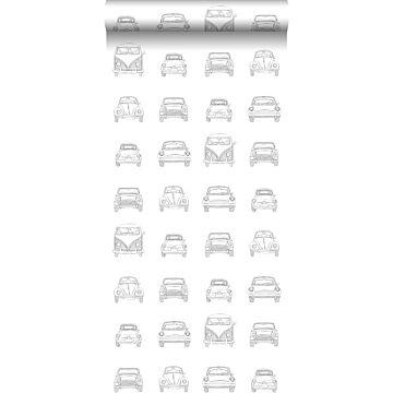 carta da parati macchine vintage disegnate nero e bianco da ESTA home