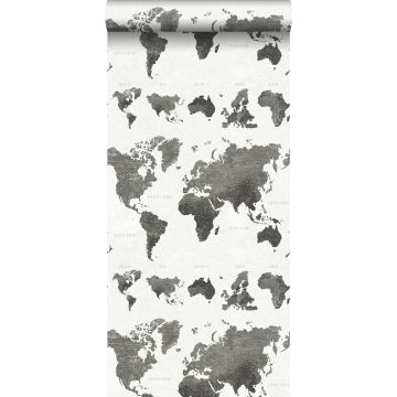 carta da parati mappa del mondo vintage con struttura jeans denim grigio scuro da ESTA home