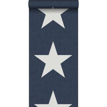 carta da parati stelle su tessuto jeans denim blu scuro da ESTA home