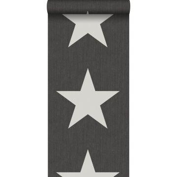 carta da parati stelle su tessuto jeans denim grigio scuro da ESTA home