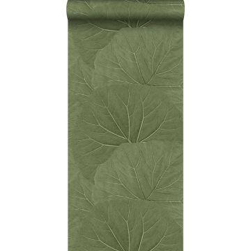 carta da parati foglie grandi verde oliva grigiastro da ESTA home
