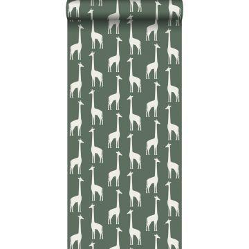 carta da parati giraffe verde scuro da ESTA home