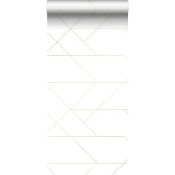 carta da parati linee grafiche bianco e oro da ESTA home