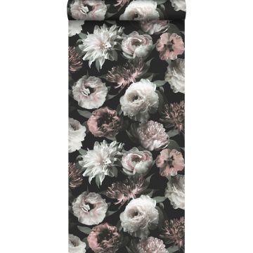 carta da parati fiori nero, bianco e rosa tenue da ESTA home