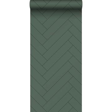 carta da parati spina di pesce verde scuro da ESTA home