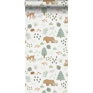 carta da parati foresta con animali della foresta bianco, verde e beige da ESTA home