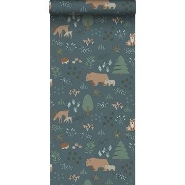 carta da parati foresta con animali della foresta blu grigrio, verde e beige da ESTA home