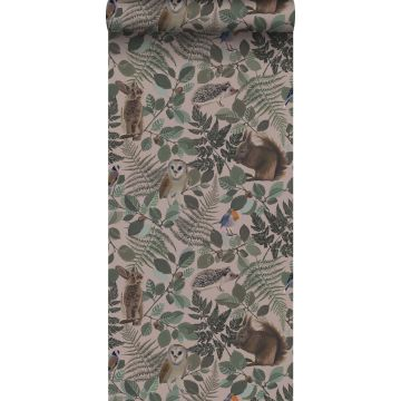 carta da parati animali della foresta rosa veccho, verde e marrone da ESTA home