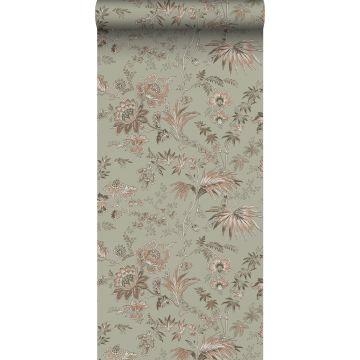 carta da parati fiori retrò vintage verde menta grigiastro e rosa tenue da ESTA home