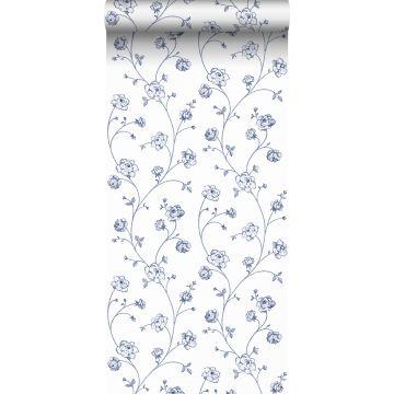 carta da parati rose in toile de jouy bianco e blu da ESTA home