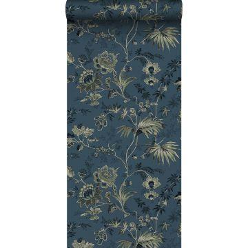 carta da parati fiori retrò vintage blu scuro e verde oliva grigiastro da ESTA home