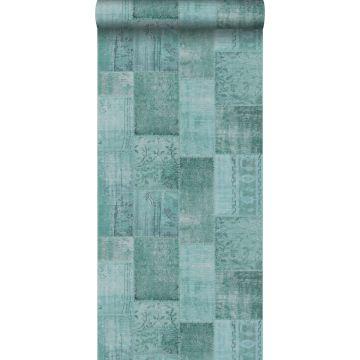 carta da parati kilim patchwork verde acqua da ESTA home