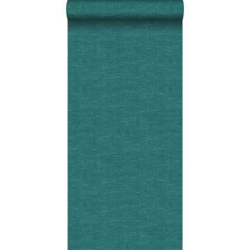 carta da parati liscia con effetto struttura di lino tessuto blu petrolio da ESTA home