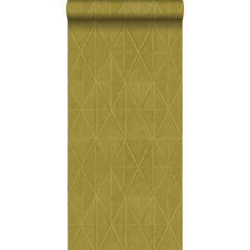 carta da parati tessuto non tessuto struttura eco motivo origami giallo ocra da ESTA home