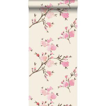 carta da parati tessuto non tessuto struttura eco fiori di ciliegio rosa da ESTA home