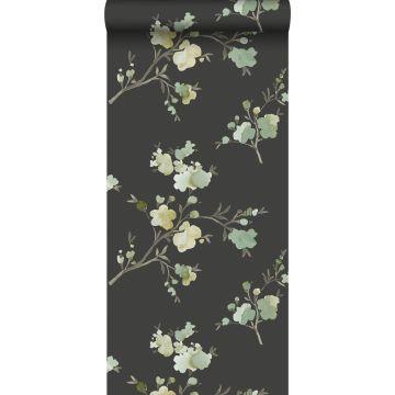 carta da parati tessuto non tessuto struttura eco fiori di ciliegio verde, giallo ocra e nero da ESTA home