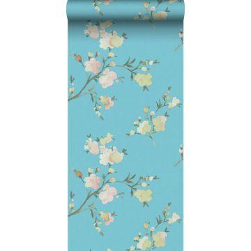 carta da parati tessuto non tessuto struttura eco fiori di ciliegio blu-Van-Gogh da ESTA home