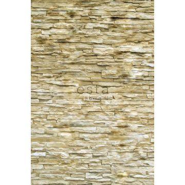fotomurale muro di mattoni moderno beige da ESTA home