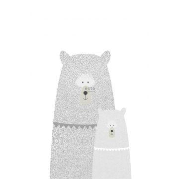 fotomurale orsi madre e figlio grigio chiaro da ESTA home