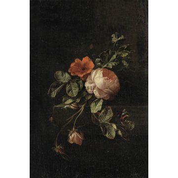 fotomurale mazzo di fiori rosso scuro e nero da ESTA home
