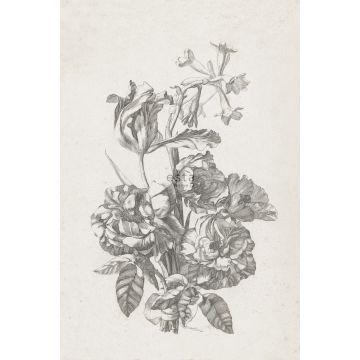 fotomurale mazzo di fiori bianco e nero da ESTA home