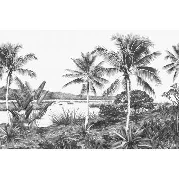 fotomurale paesaggio con palme nero e bianco da ESTA home