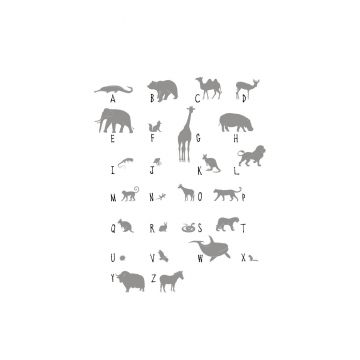 fotomurale animali ABC grigio da ESTA home