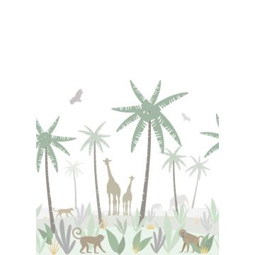 fotomurale animali della giungla verde, grigio e marrone da ESTA home
