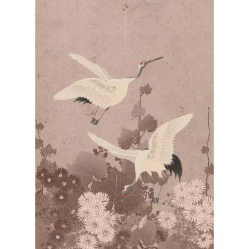 fotomurale uccelli gru rosa grigio da ESTA home