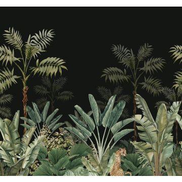 fotomurale giungla nero e verde grigiastro da ESTA home
