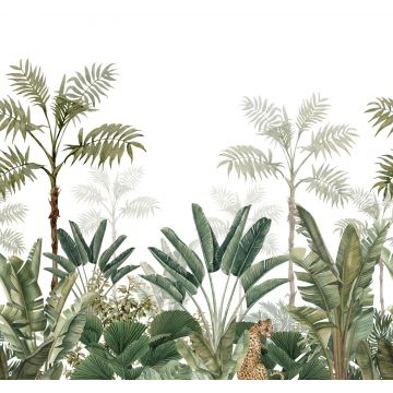 fotomurale giungla bianco e verde oliva grigiastro da ESTA home