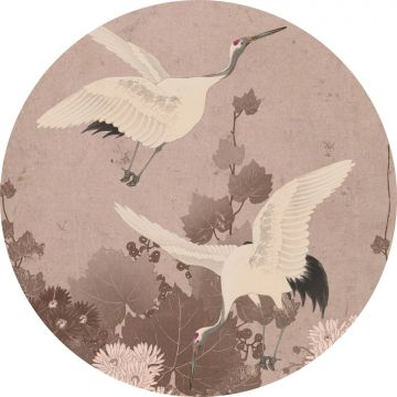 fotomurale autoadhesivo tondo uccelli gru rosa grigio da ESTA home
