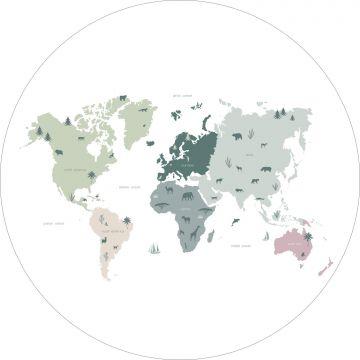 fotomurale autoadhesivo tondo mappa del mondo per i bambini verde menta, grigio e rosa da ESTA home