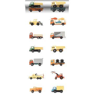 carta da parati XXL in TNT camion e trattori giallo, arancione e blu da ESTA home