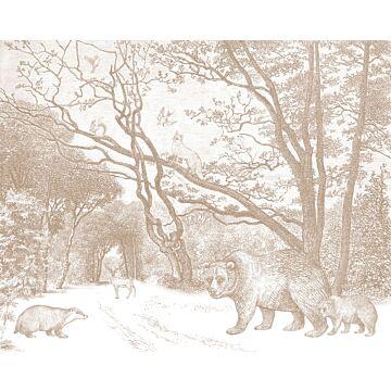 fotomurale foresta con animali della foresta terracotta da ESTA home