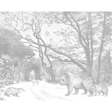 fotomurale foresta con animali della foresta grigio da ESTA home