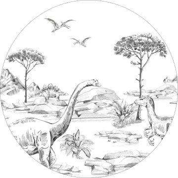 fotomurale autoadhesivo tondo dinosauri bianco e nero da ESTA home