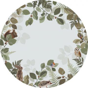 fotomurale autoadhesivo tondo animali della foresta verde e marrone da ESTA home