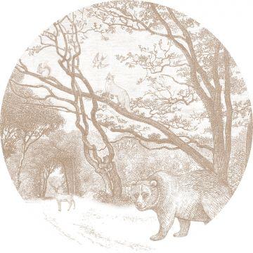 fotomurale autoadhesivo tondo foresta con animali della foresta marrone cervine da ESTA home