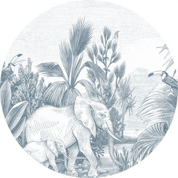 fotomurale autoadhesivo tondo giungla blu da ESTA home