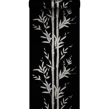 carta da parati bambù nero opaco e grigio da Origin